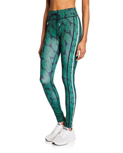 Palm Leaf Printed Yoga Pants