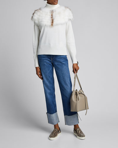 Wool Turtleneck Sweater w/ Fur Trim
