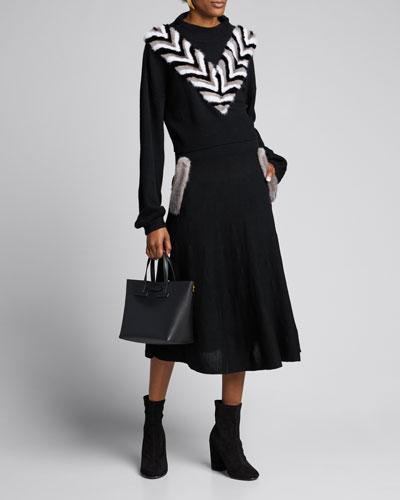 Flared Wool Midi Skirt w/ Mink Pockets