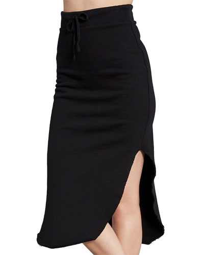 Drawstring Fleece Skirt with Splits