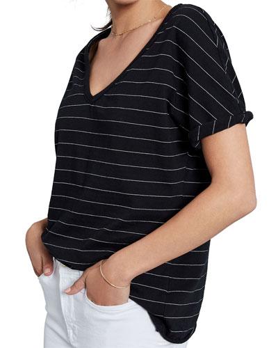 Striped Deep V-Neck Short-Sleeve Jersey Tee