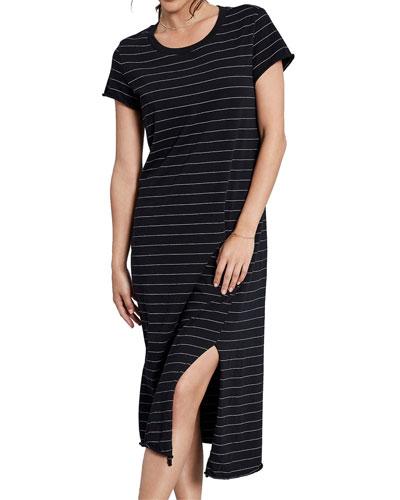Asymmetrical Striped Tee Dress