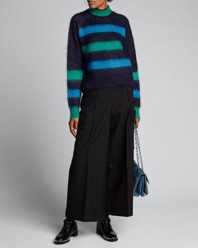 Brushed Striped Crop Sweater