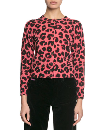 Animal-Print Button-Front Cardigan