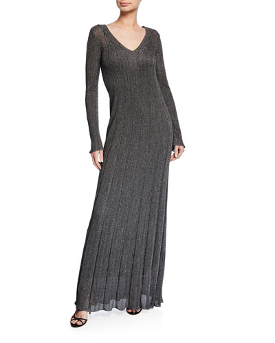 Unito Metallic V-Neck Long-Sleeve Dress
