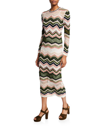 Zigzag Crewneck Long-Sleeve Midi Dress