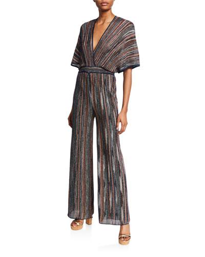 Metallic Multicolor Dolman-Sleeve Wide-Leg Jumpsuit