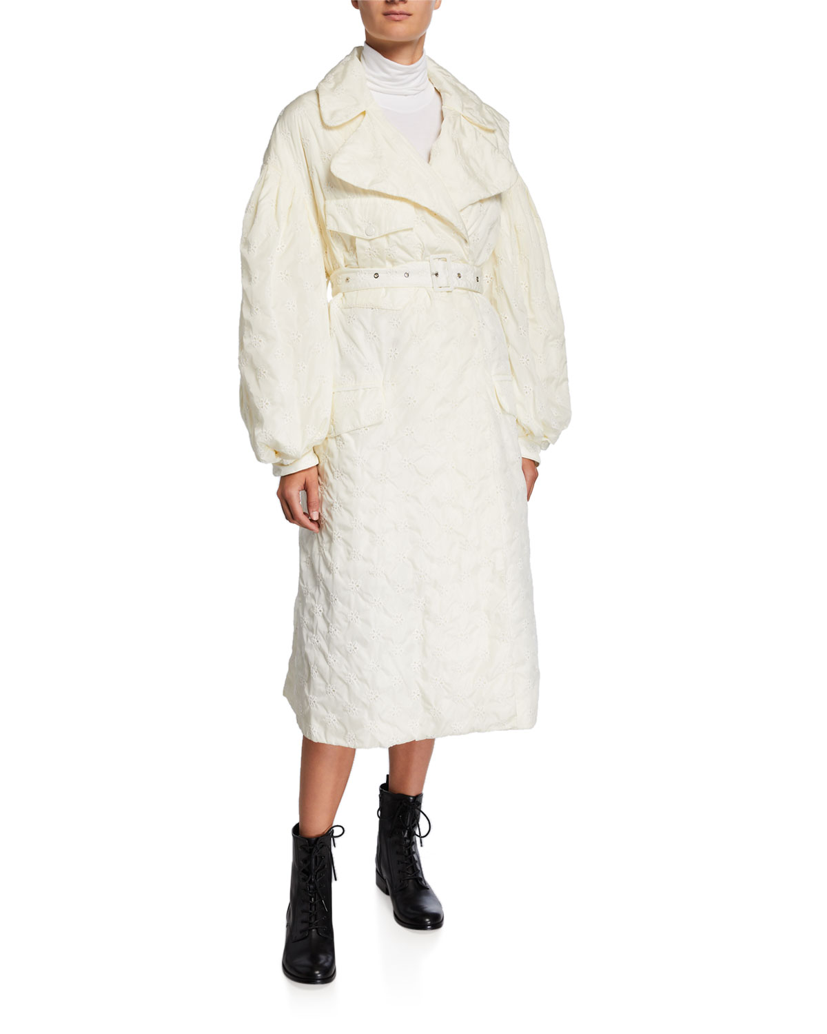 e20973419 Dinah Long Embroidered Trench Coat in White