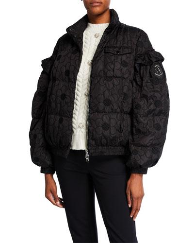 Akela Daisy-Embroidered Puffer Jacket