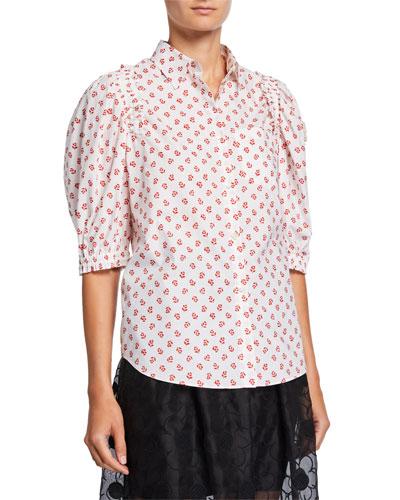 Woven Cotton Flower Shirt