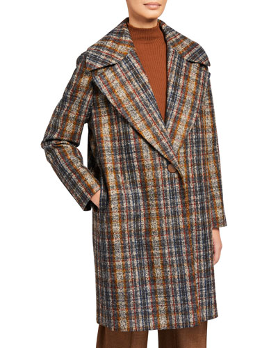 Lebell Artisan Plaid One-Button Coat