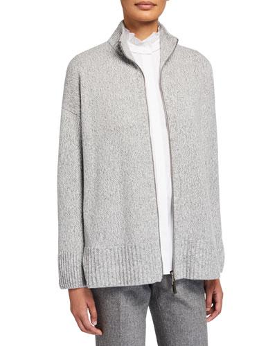 Zip-Front Cashmere Cardigan