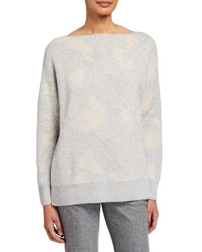 Snake Jacquard Bateau-Neck Cashmere Sweater