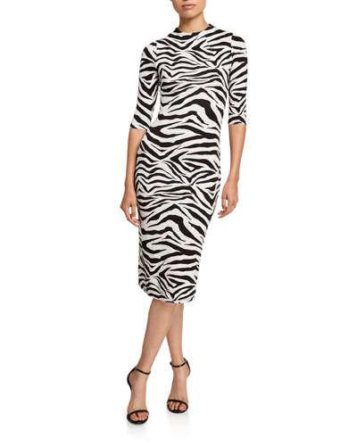 Delora Zebra-Print Mock-Neck 1/2-Sleeve Fitted Dress