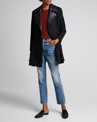 Cody Leather-Trim Midi Coat
