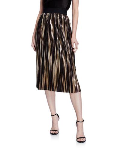 Mikaela Pleated Metallic Stripe Midi Skirt