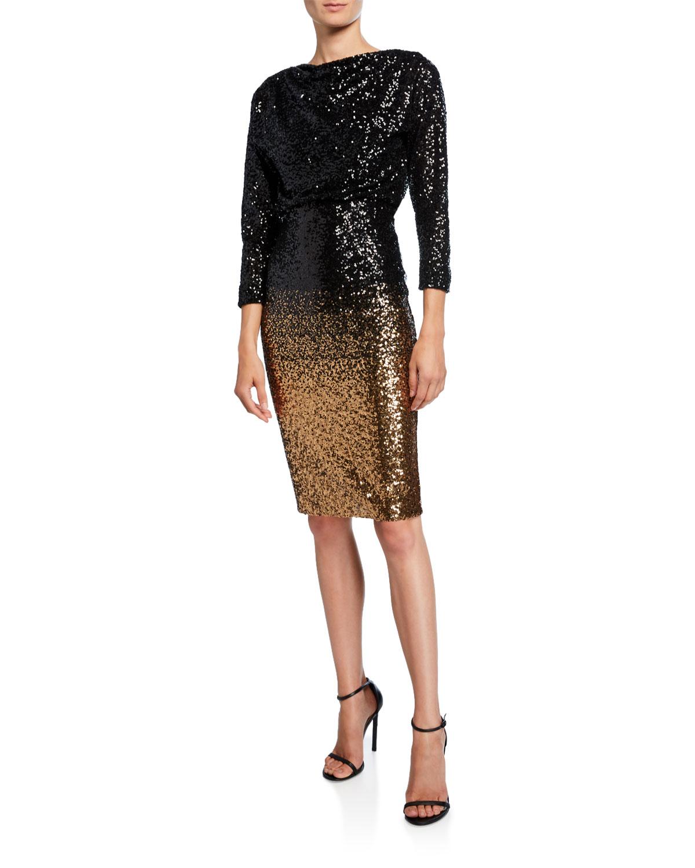 Badgley Mischka Dresses OMBRE SEQUIN SHEATH DRESS