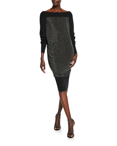 Long-Sleeve Metallic Blouson Dress