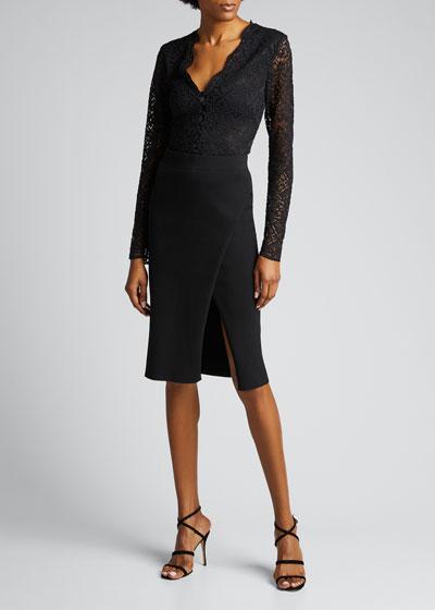 Deep Rib Wrap Skirt with Slit