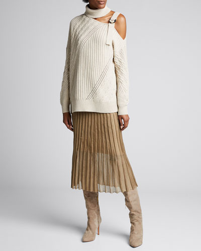 Strapped Wool Turtleneck Sweater