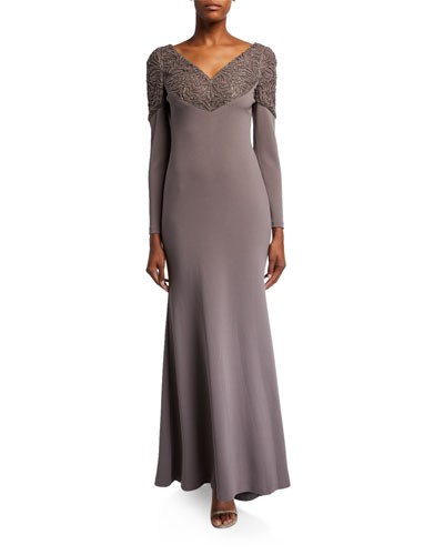 Laser Beaded Embellished Long-Sleeve Scuba Gown