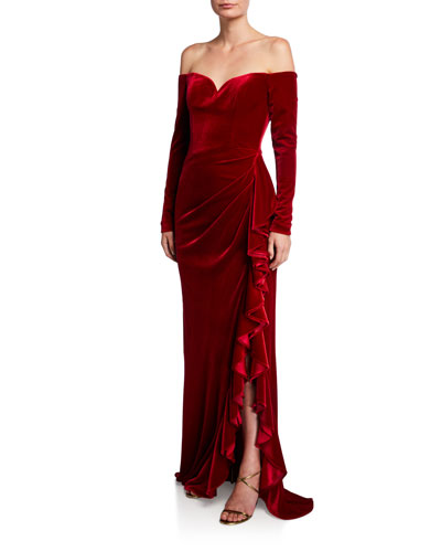 Off-the-Shoulder Long-Sleeve Velvet Column Gown w/ Asymmetric Skirt