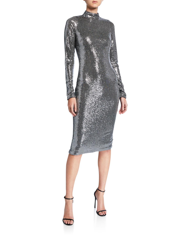 Badgley Mischka Dresses SEQUIN MOCK-NECK LONG-SLEEVE SHEATH DRESS