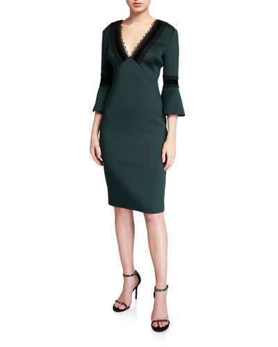 Lace-Trim V-Neck Trumpet-Sleeve Scuba Dress
