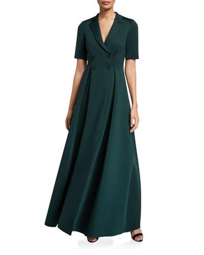 Elbow-Sleeve Long Scuba Coat Dress