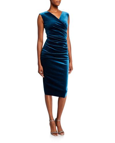 Sleeveless Shirred Velvet Dress