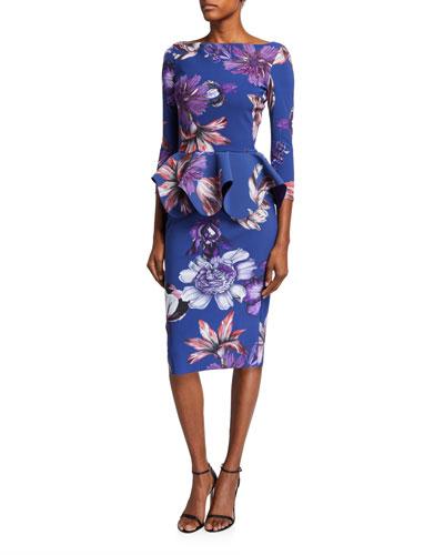 Floral High-Neck Long-Sleeve Peplum Dress