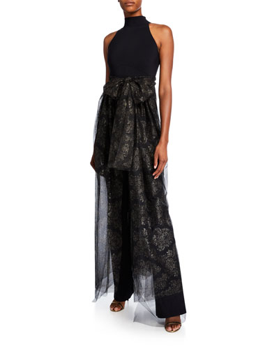 Halter Jumpsuit with Metallic Tulle Overlay