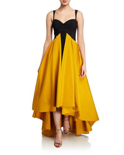 Sweetheart Taffeta High-Low Sleeveless Gown