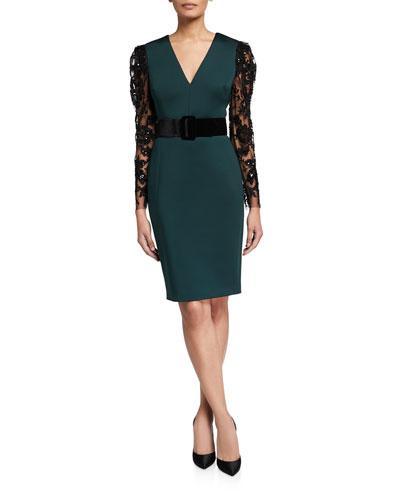 V-Neck Lace-Sleeve Belted Scuba Combo Dress