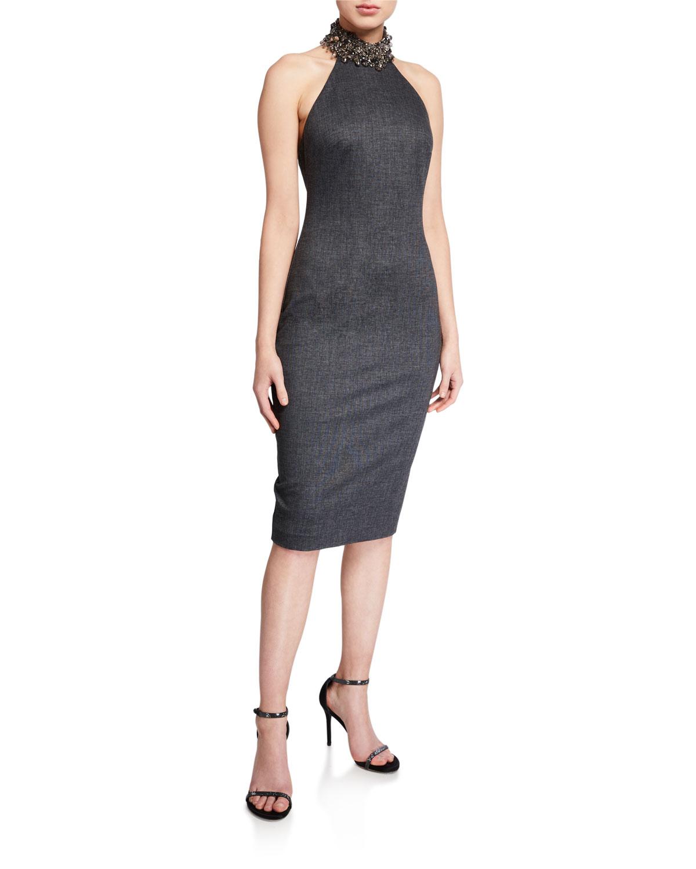 Badgley Mischka Dresses MENSWEAR JEWELED HALTER DRESS