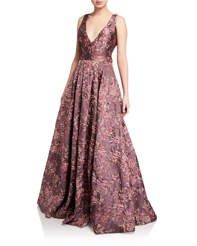 Deep V-Neck Sleeveless Brocade Ball Gown