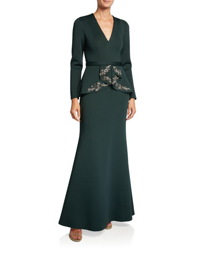 V-Neck Long-Sleeve Beaded Peplum Scuba Gown