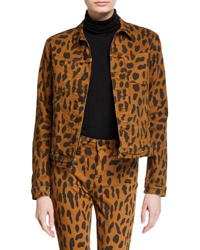 Celine Animal-Print Denim Jacket