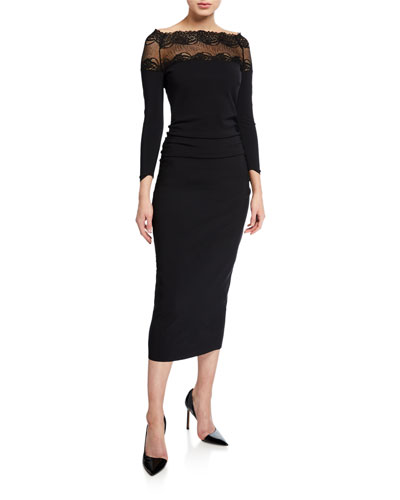 Lace Yoke Shirred Sheath Dress