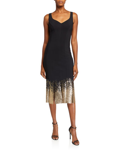Sequined-Hem Sleeveless Midi Cocktail Dress