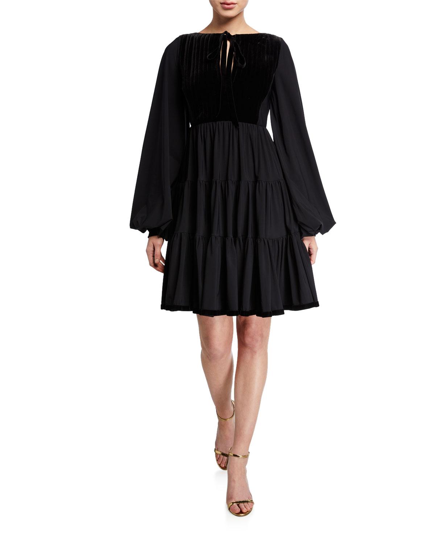 Chiara Boni La Petite Robe Dresses TIE-NECK PUFF-SLEEVE FULL SKIRT PEASANT DRESS