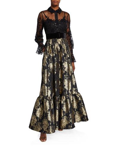 Long-Sleeve Lace Top & Brocade Skirt Combo Shirtdress