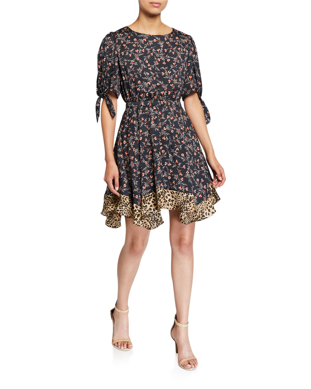 Rebecca Taylor Dresses LIA FLORAL SHORT-SLEEVE DRESS