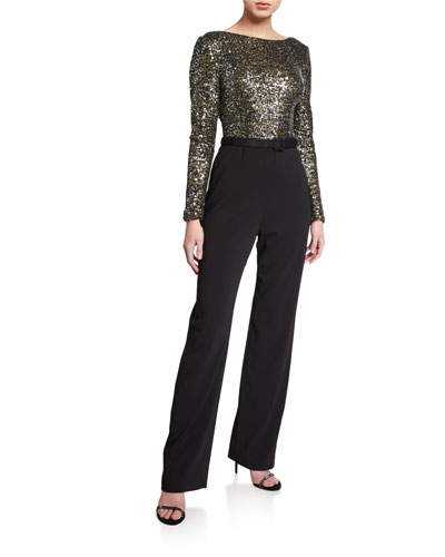 Sequin Long-Sleeve Cowl-Back Belted Jumpsuit