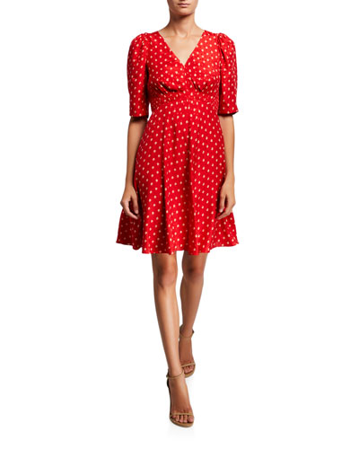 Sunrise Dot Jacquard V-Neck Dress