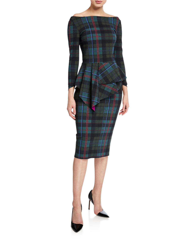 Chiara Boni La Petite Robe Dresses PLAID OFF-THE-SHOULDER LONG-SLEEVE PEPLUM DRESS