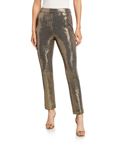 Sequin Straight-Leg Pants