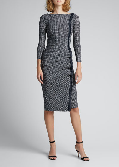 Long-Sleeve Tweed Dress w/ Piping