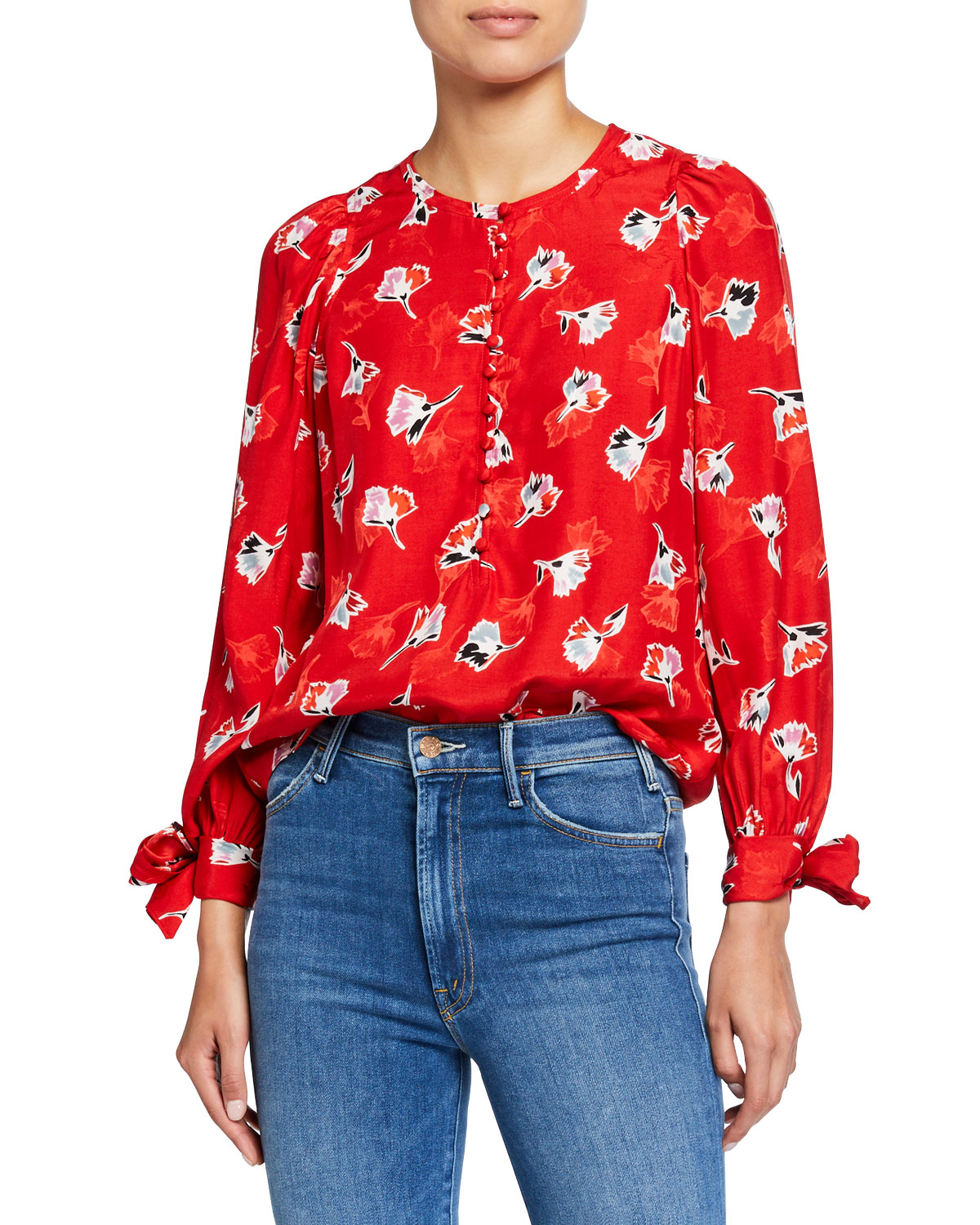 Rebecca Taylor Tops LONG-SLEEVE PAINTBRUSH BUTTON-FRONT TOP