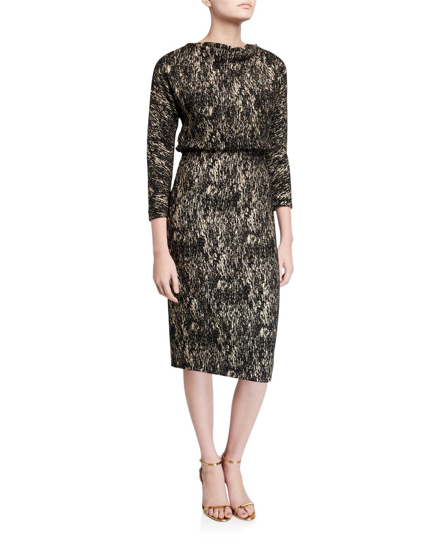 Badgley Mischka Dresses FOILED HIGH-NECK 3/4-SLEEVE BLOUSON DRESS